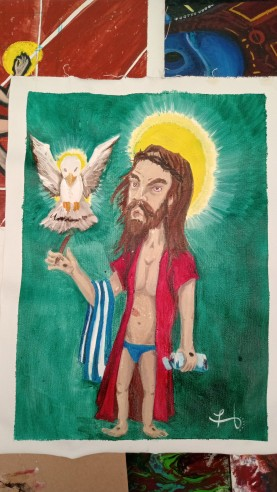Pool party Jesus - Oleo sobre tela